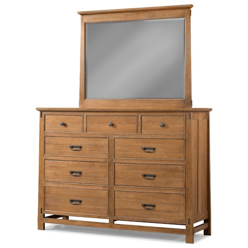 Cresent Fine Furniture Camden 9 Drawer Media Dresser and Beveled Glass Mirror Combo