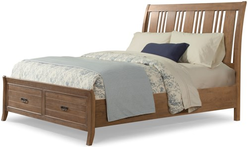 Cresent Fine Furniture Camden Queen Storage Sleigh Bed with 2 Drawer Footboard