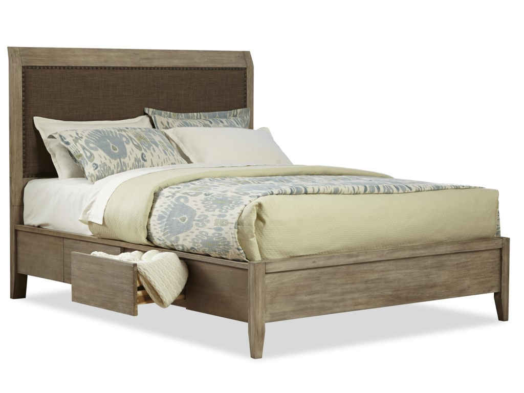 Cresent Fine Furniture Corliss LandingQueen Upholstered Double Sided Storage Bed