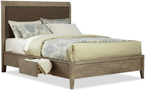 Cresent Fine Furniture Corliss Landing Contemporary Cal King Upholstered Double Sided Storage Bed