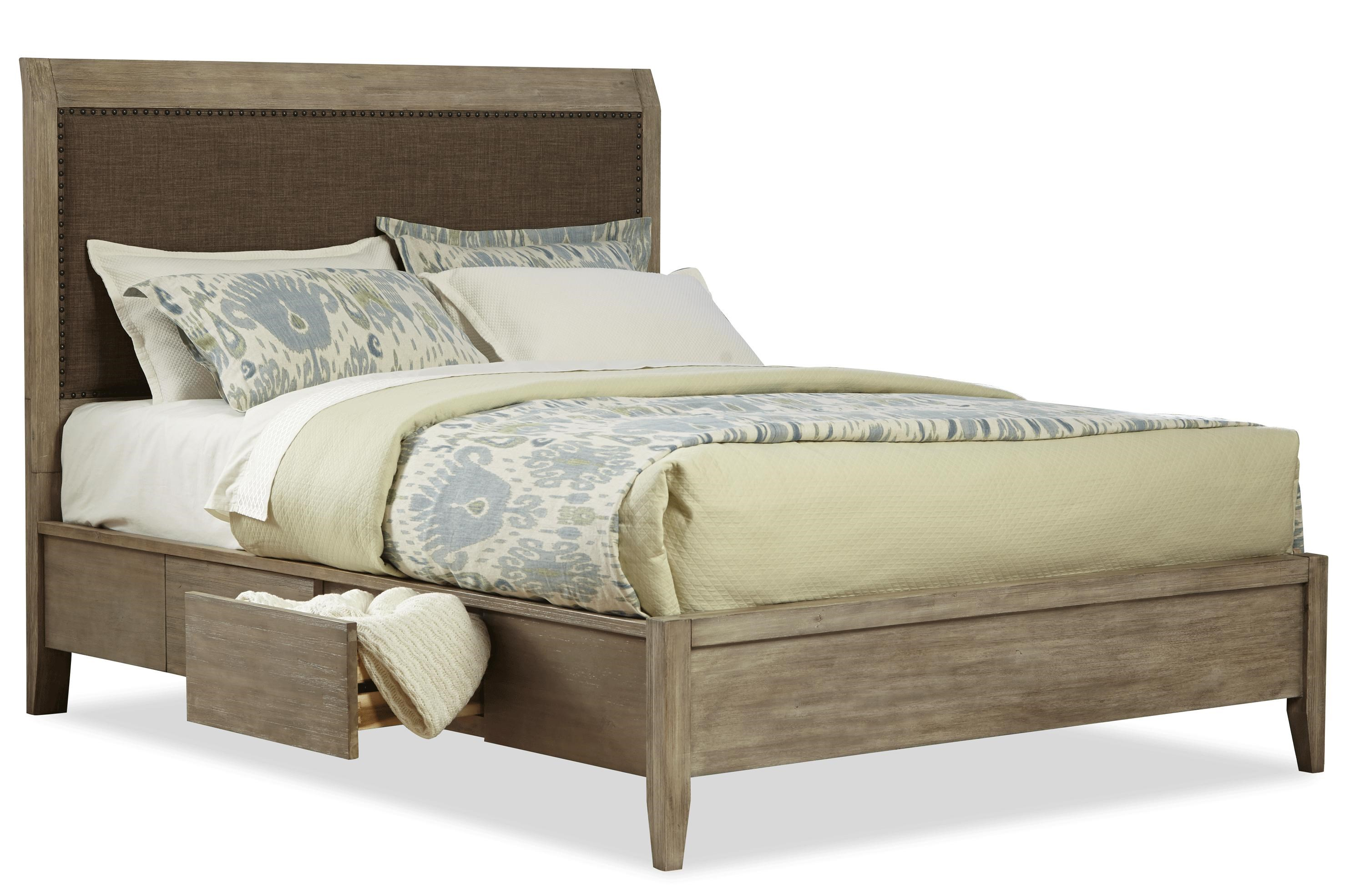 Cresent Fine Furniture Corliss LandingQueen Upholstered Double Sided  Storage Bed ...