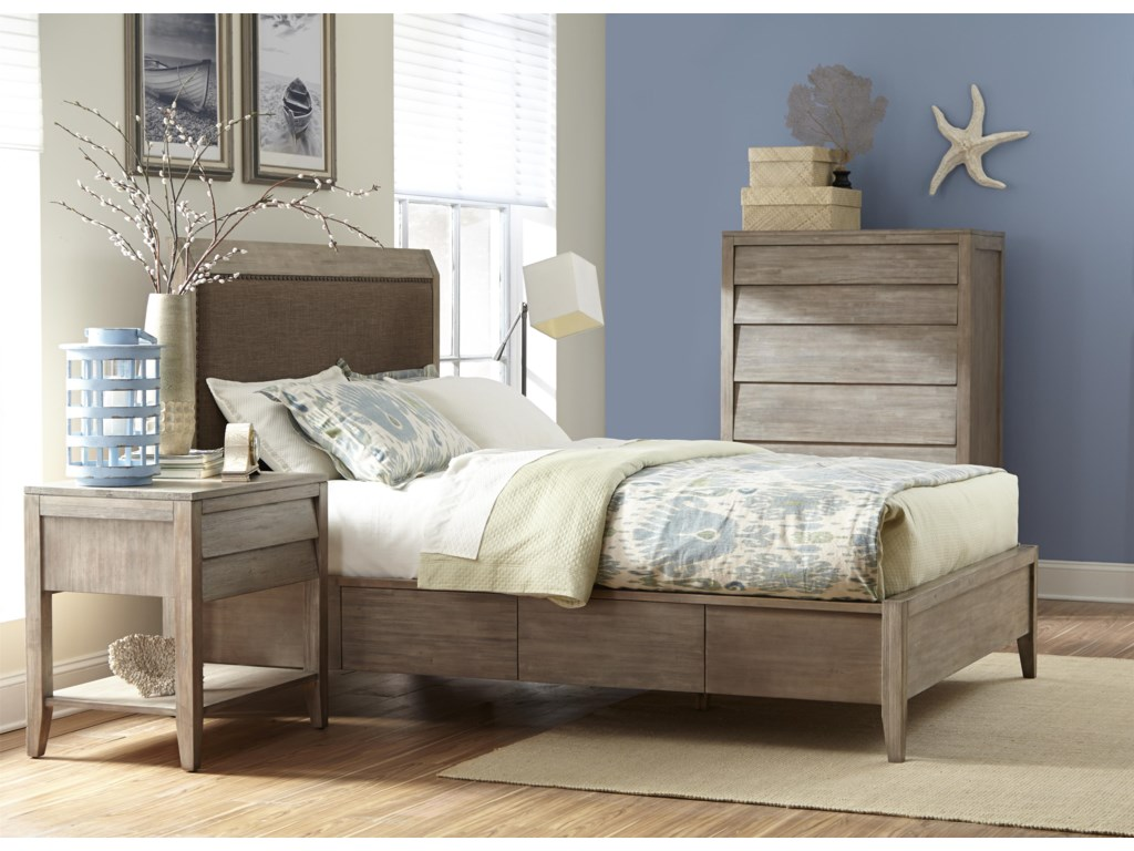 Cresent Fine Furniture Corliss LandingQueen Upholstered Storage Bed