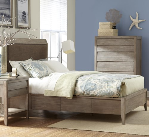 Cresent Fine Furniture Corliss Landing King Upholstered Low Profile Bed