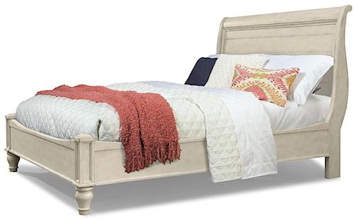 Cresent Fine Furniture Cottage King Antiqued White Storage Sleigh Bed
