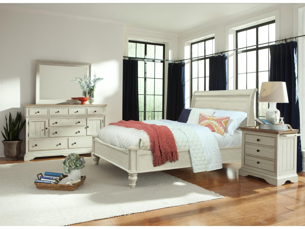 Cresent Fine Furniture CottageKing Antiqued White Storage Sleigh Bed