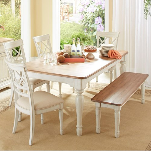 Cresent Fine Furniture Cottage 6 Piece Table and Chair Set with Bench