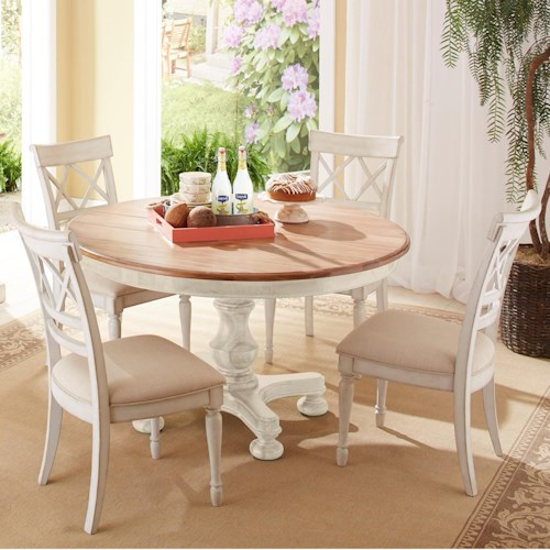 Cresent Fine Furniture Cottage 5 Piece Round Table and Double-X Back Chair Set