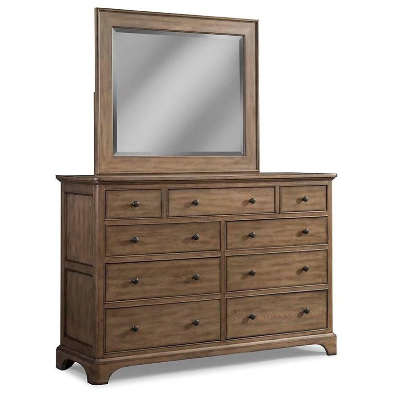 Cresent Fine Furniture Gunnison 9 Drawer Solid Wood Media Dresser And  Mirror Combo