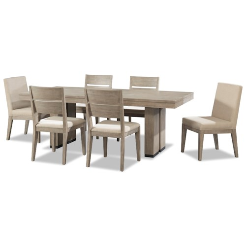 Cresent Fine Furniture Larkspur 7 Piece Trestle Table And Upholstered Chair Set Pilgrim