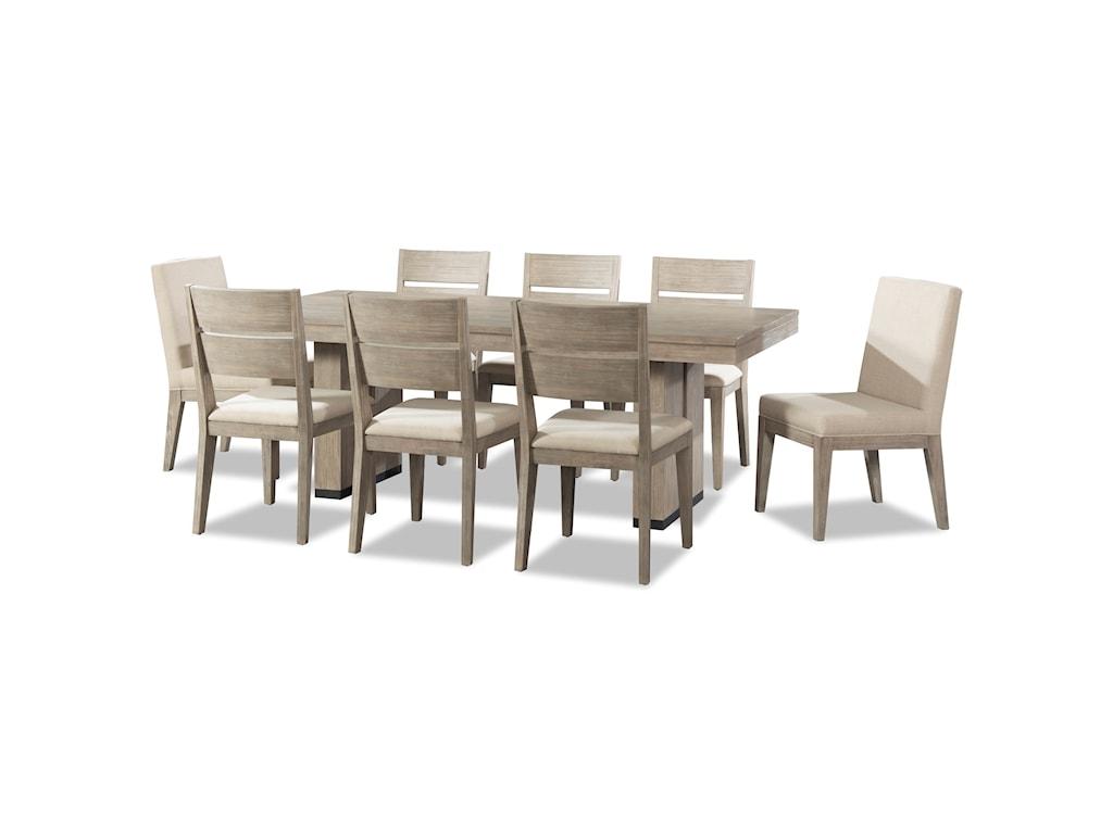 Cresent Fine Furniture Larkspur 9 Piece Trestle Table and ...