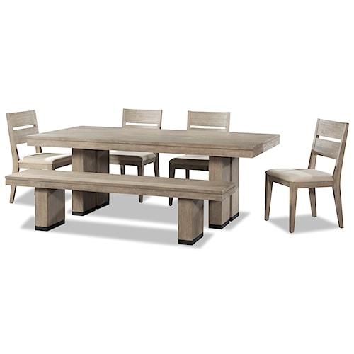 Cresent Fine Furniture Larkspur 6 Piece Trestle Table And