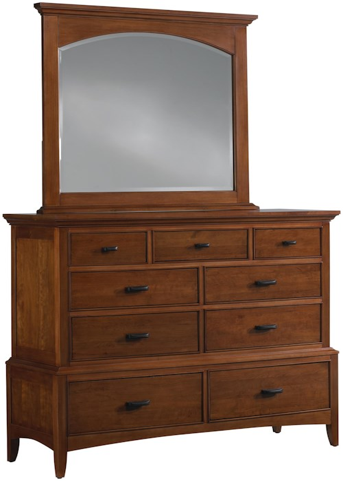 Cresent Fine Furniture Cresent Classics - Modern Shaker Media Dresser & Landscape Mirror