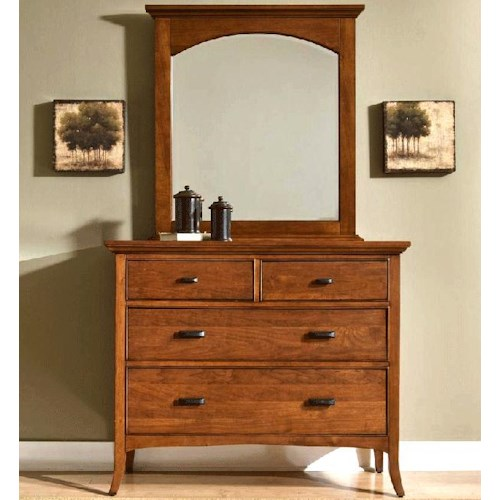 Cresent Fine Furniture Cresent Classics - Modern Shaker Four-Drawer Small Media Dresser & Mirror with Arched Crown Combination