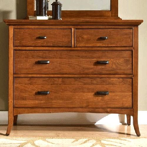 Cresent Fine Furniture Cresent Classics - Modern Shaker Small Media Dresser with Two Drop-Front & Two Standard Drawers