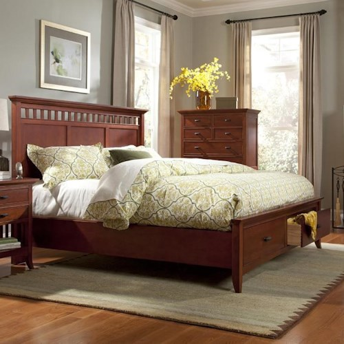 Cresent Fine Furniture Cresent Classics - Modern Shaker Queen Slat Panel Storage Bed with 2 Drawers