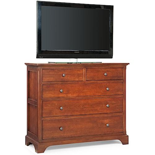 Cresent Fine Furniture Retreat Cherry Casual Cherry 5 Drawer Media Dresser