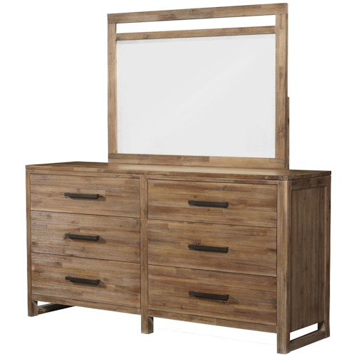 Cresent Fine Furniture Waverly Rustic-Modern Dresser with Six Full-Extension Drawers & Framed Landscape Mirror Combination