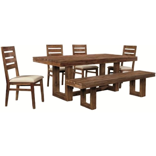 Cresent Fine Furniture Waverly Six-Piece Modern-Rustic Rectangular Trestle Table with Ladderback Side Chairs & Dining Bench Set