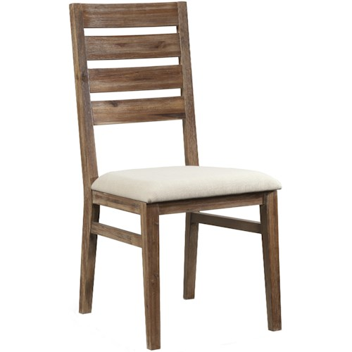 Cresent Fine Furniture Waverly Ladderback Dining Side Chair with Polyester Upholstered Cushion Seat