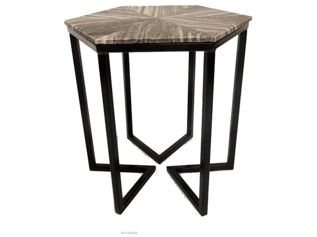 Crestview Collection Accent FurnitureBengal Manor Shaped Iron Base Hexagon Accent