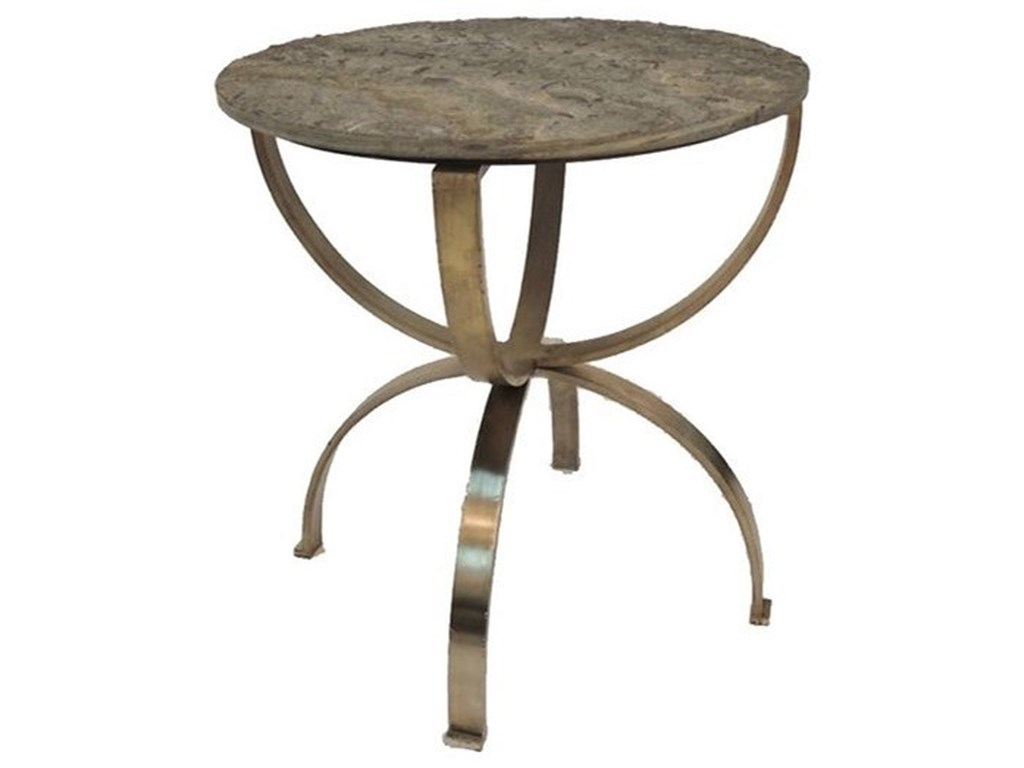 Crestview Collection Accent FurnitureBengal Manor Curved Aged Brass Round Accent