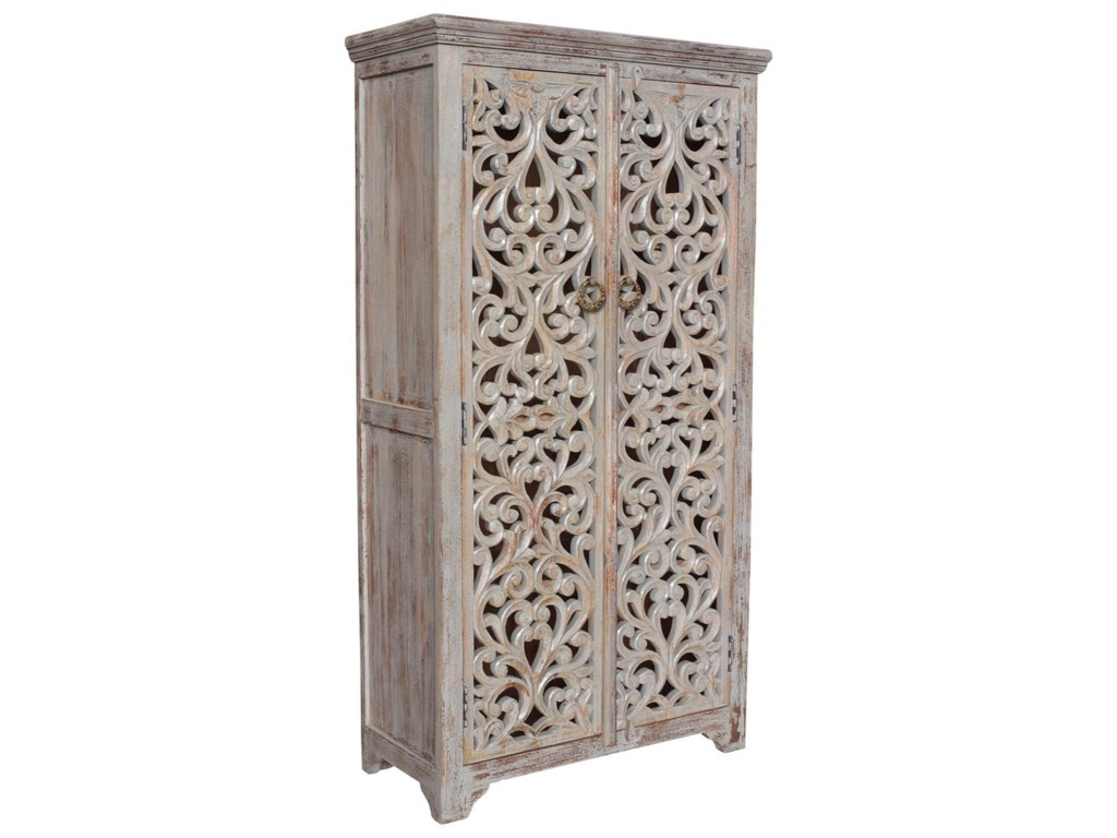Crestview Collection Accent FurnitureBengal Manor Mango Wood Hand Carved Open Des