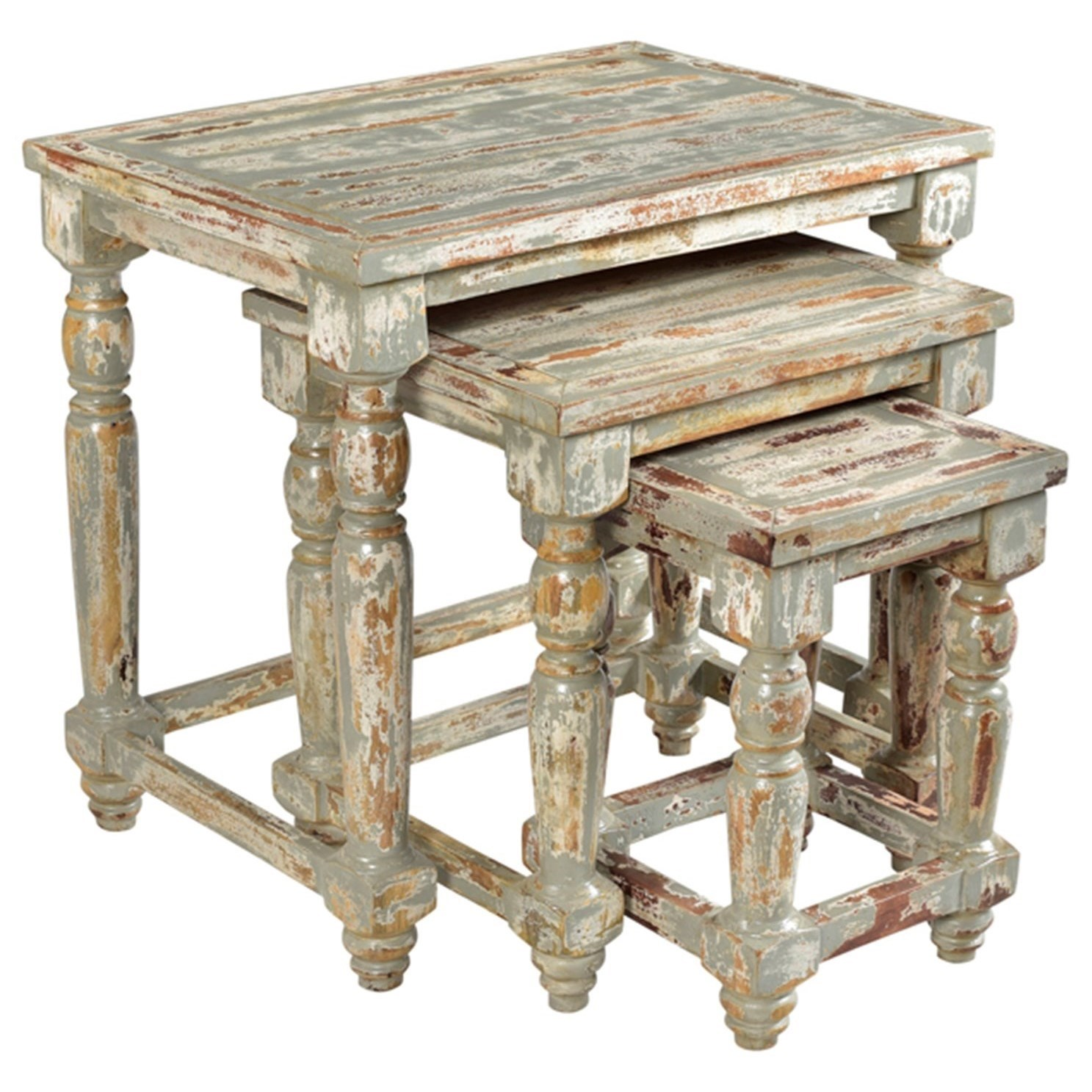 Crestview Collection Accent Furniture Bengal Manor Mango Wood Distressed  Grey Set Of Nested Tables