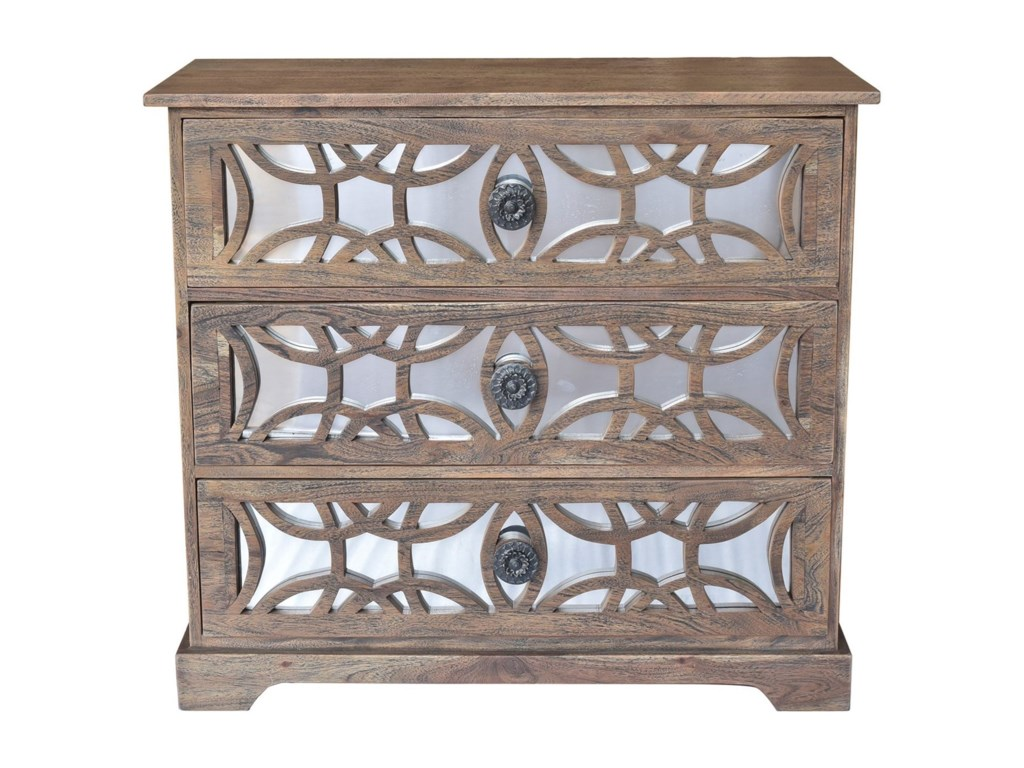 Crestview Collection Accent FurnitureBengal Manor Dark Mango Wood 3 Drawer Fretwo