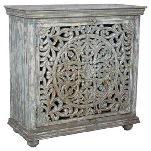Crestview collection accent furniture bengal manor mango wood carved 2 door cabinet