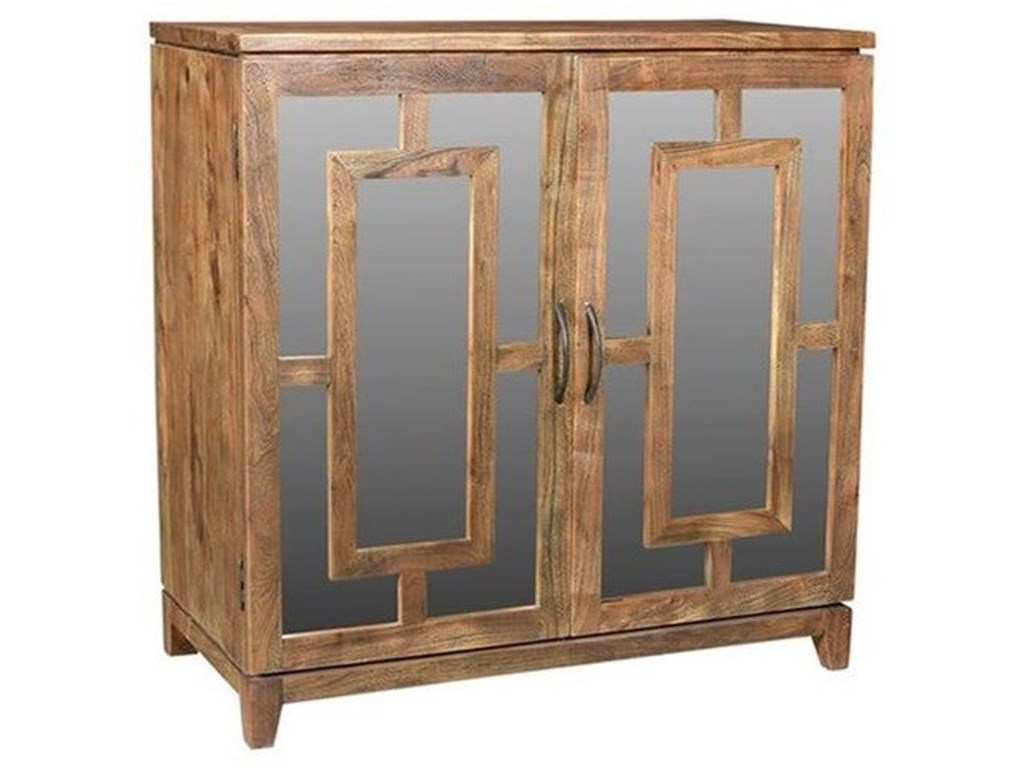Crestview Collection Accent FurnitureAcacia Wood Mirrored Cabinet