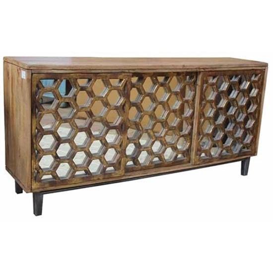 Crestview Collection Accent Furniture Bengal Manor Mango Wood 3 Sliding  Door Cabinet W/ Honeycomb Mirror