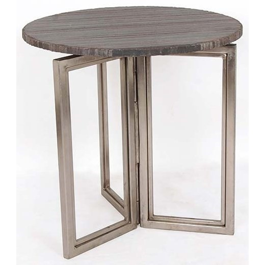 Crestview collection accent furniture bengal manor solid iron accent table in nickel finish w rough grey marble top