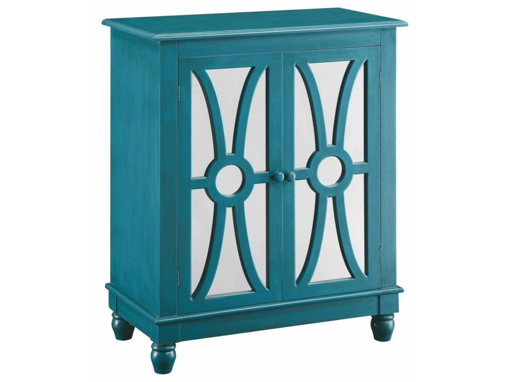 Crestview Collection Accent FurnitureClairemont Turquoise 2 Door Cabinet
