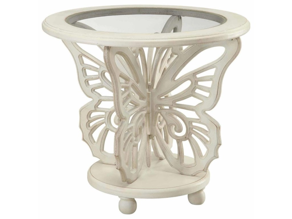 Crestview Collection Accent FurnitureBethany White Butterfly Table