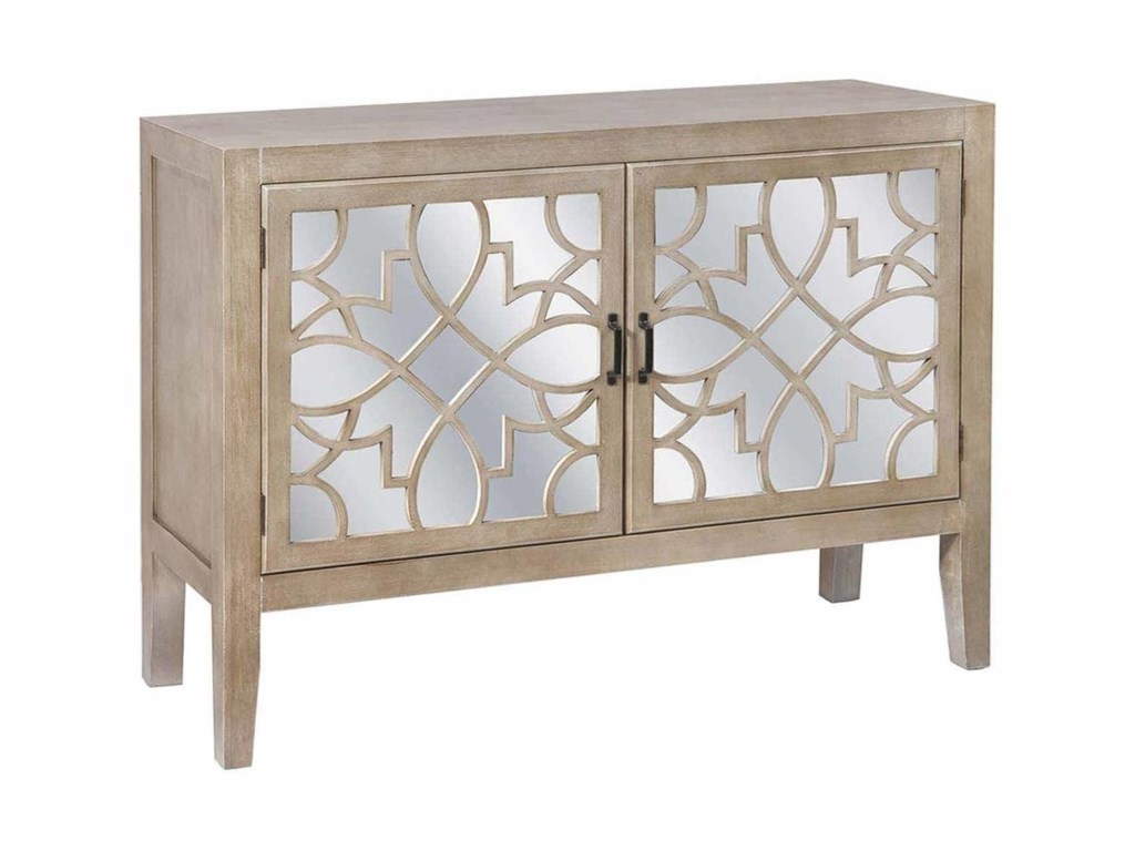 Crestview Collection Accent FurnitureVeranda 2 Door Sandstone And Mirror Cabinet