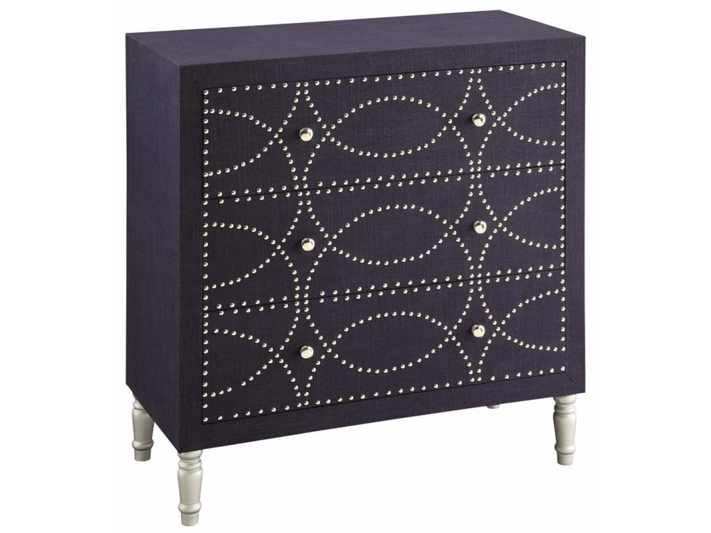 Crestview Collection Accent FurnitureCobalt Blue Fabric And Chrome Nailhead 3 Dra