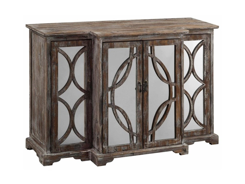 Crestview Collection Accent FurnitureGalloway 4 Door Rustic Wood And Mirror Sideb