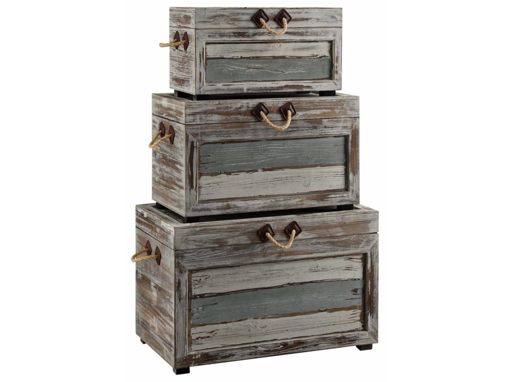 Crestview Collection Accent FurnitureNantucket Weathered Wood Trunks