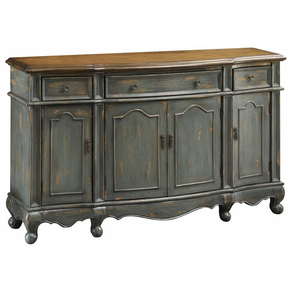 Crestview Collection Accent Furniture Chatsworth Grey 3 Drawer / 4 Door  Credenza