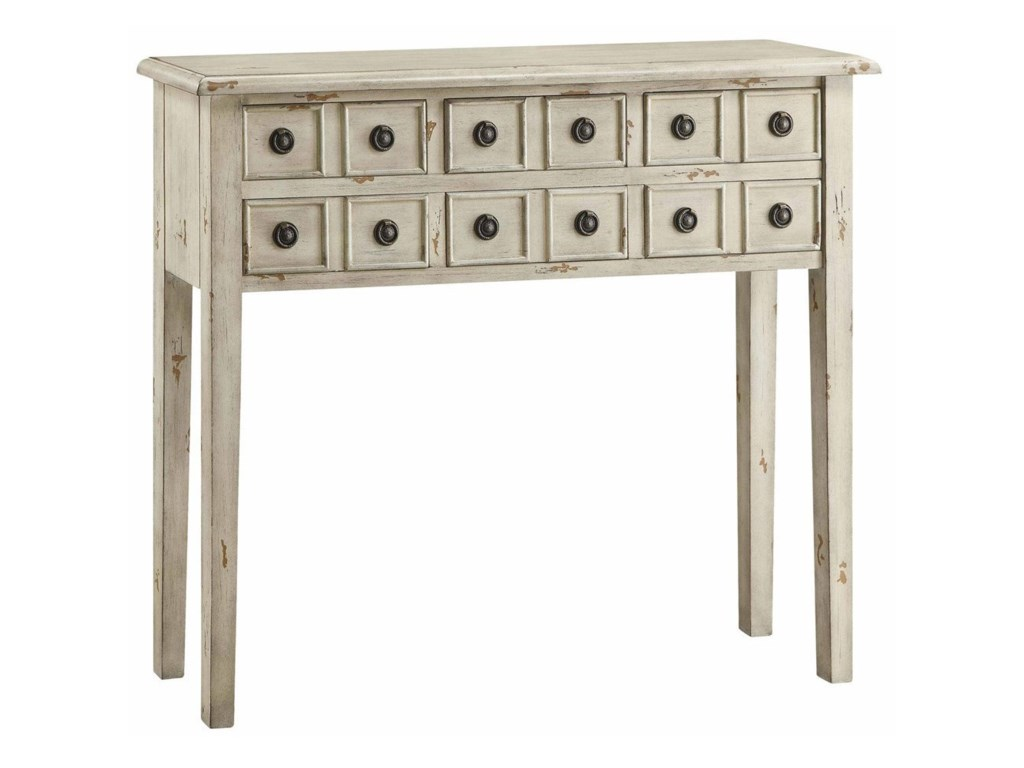 Crestview Collection Accent FurnitureNewcastle 6 Drawer Antique White Console