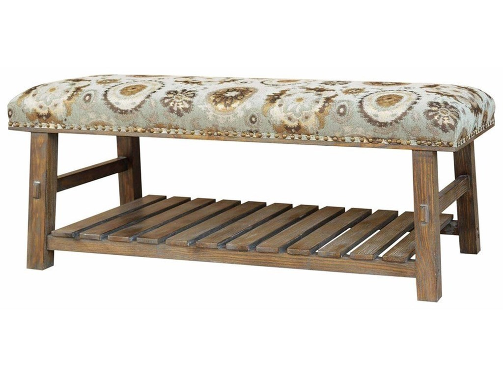 Crestview Collection Accent FurnitureHillcrest Rustic Frame & Pattern Bench