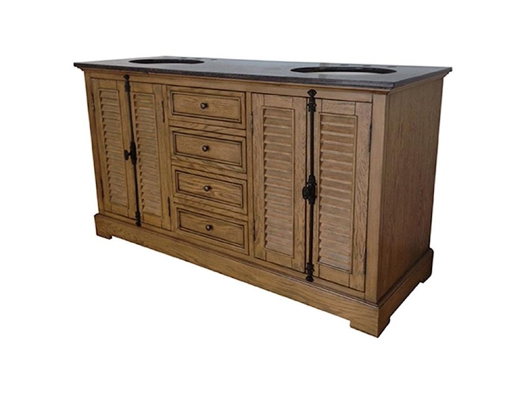 Crestview Collection Accent FurnitureOak Ridge 4 Louvered Door / 4 Drawer 60