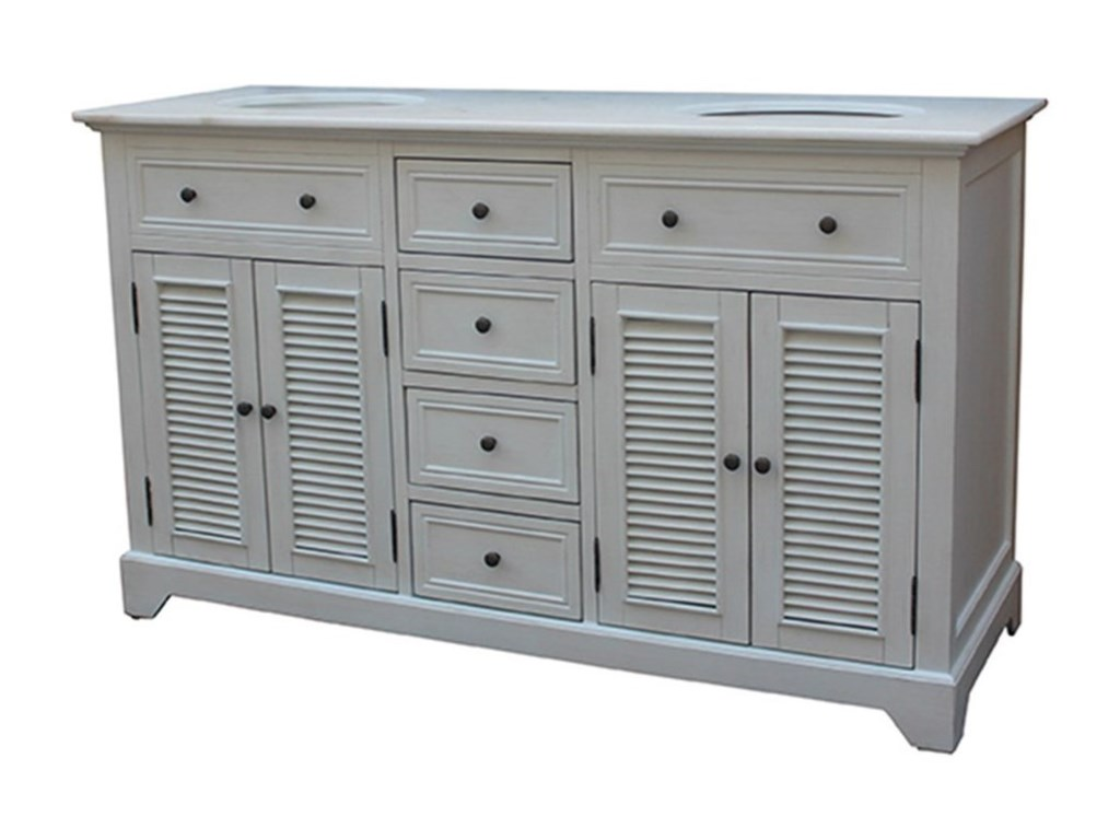 Crestview Collection Accent FurnitureCottage White 4 Louvered Doors / 4 Drawers 6