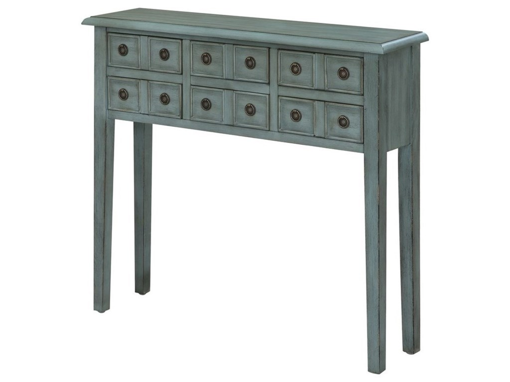Crestview Collection Accent FurnitureFlorence 6 Drawer Teal Console