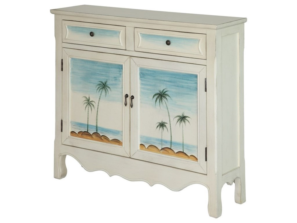 Crestview Collection Accent FurnitureSeaside Coastal Scene Cupboard