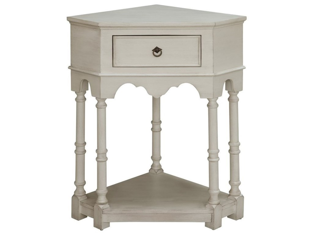 Crestview Collection Accent FurnitureCoventry White Oak Corner 1 Drawer Chest