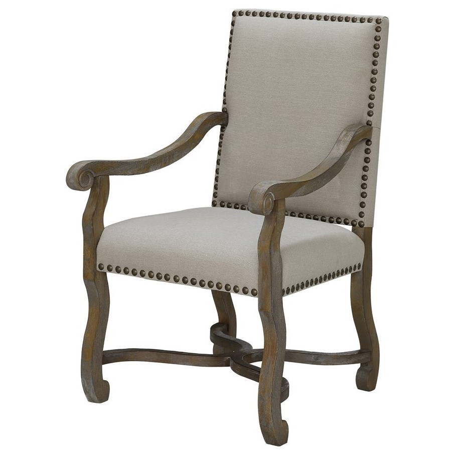 Crestview Collection Accent Furniture St. James Nailhead And Linen Chair    Great American Home Store   Exposed Wood Chairs