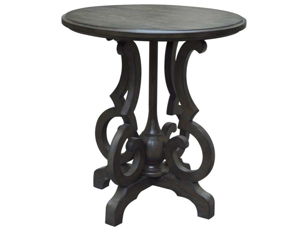 Crestview Collection Accent FurnitureKensington Shaped Leg Burnished Oak Round Ac