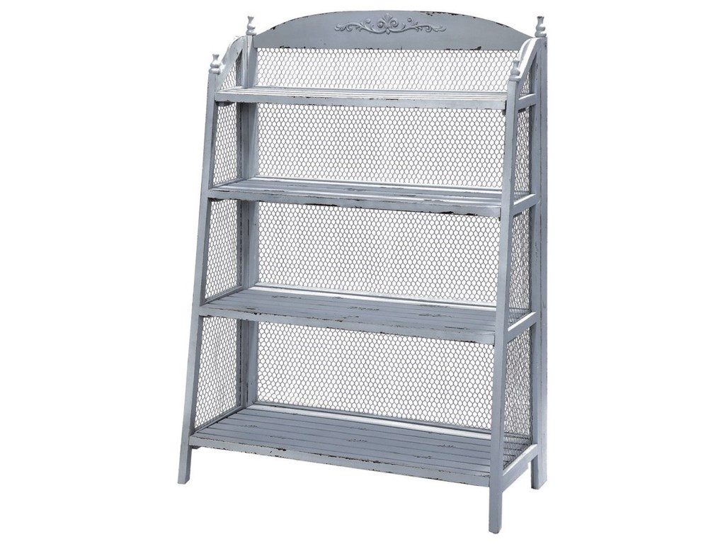 Crestview Collection Accent FurnitureLydia Pale Grey And Chicken Wire Bookshelf