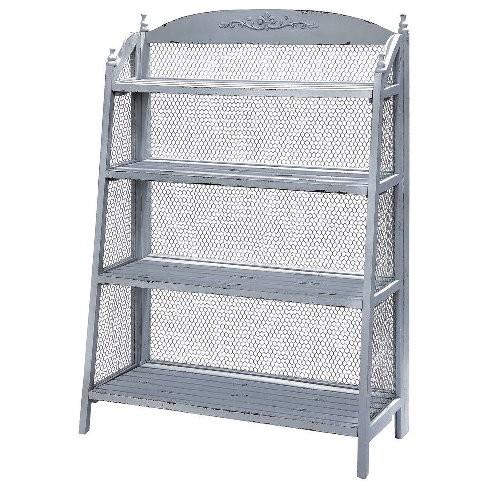 Crestview Collection Accent Furniture Lydia Pale Grey And Chicken Wire  Bookshelf